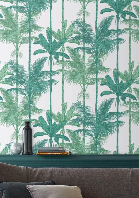 Papier peint design Papier peint Tamaris tons de vert Vue pièce