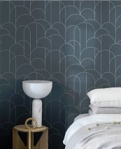 Wallpaper Zania Shimmering pattern Matt base surface Art Deco Bends Blue grey White aluminium