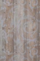 Papier peint Medusa Wood Mat Vieilles planches de bois Damassé baroque Bleu pâle Brun gris pâle Brun gris Gorge de pigeon