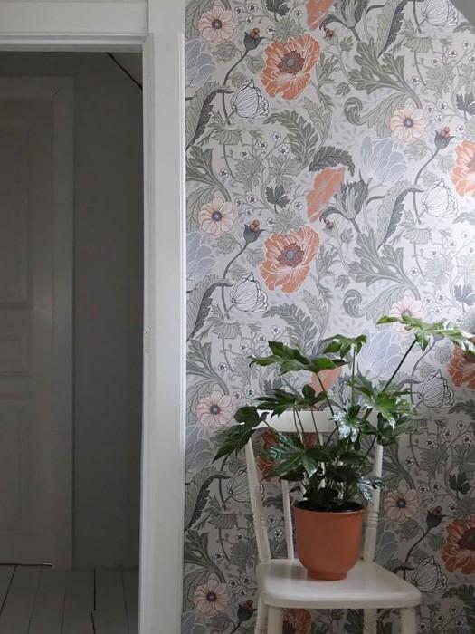 Papel de parede Soria Mate Flores gavinhas Branco acinzentado Cinza claro Cinza silex Verde oliva Marrom alaranjado Hellmoosgrau