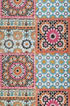 Wallpaper Azulejos Matt Oriental Tiling Motif Magenta Orange Black Turquoise blue White