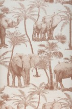 Wallpaper Raynor Matt Elephants Palm trees Birds Cream Pale brown Cream shimmer
