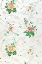 Papier peint Fasalla Aspect impression à la main Motif mat Surface chatoyante Fleurs Vrilles stylisées Blanc crème Vieux rose Beige gris clair Vert feuillage Jaune ocre Rouge rubis