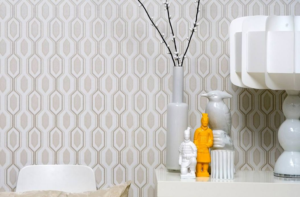 Geometric Wallpaper Wallpaper Marais cream Room View