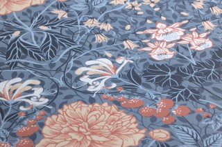 Papel pintado Lovisa Mate Hojas Flores Frutas Damasco histórico Azul pichón Rojo parduzco Azul claro Marfil claro Azul negruzco