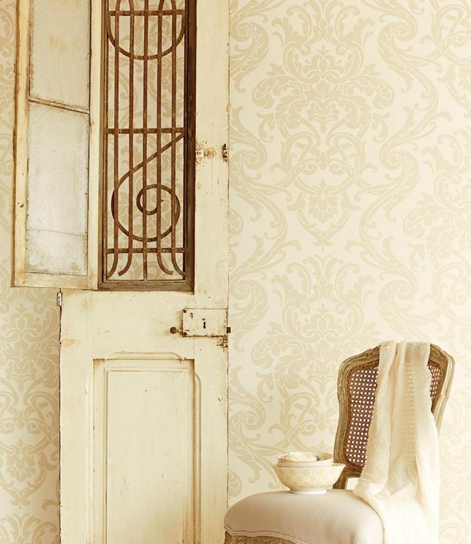 papier peint maradila blanc cr me or p le papier. Black Bedroom Furniture Sets. Home Design Ideas