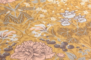 Papel pintado Lovisa Mate Hojas Flores Frutas Damasco histórico Amarillo arena Marrón oscuro Marrón oliva Azul pálido Rosa pálido