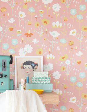 Papel pintado Bloom rojo beige Ver habitación