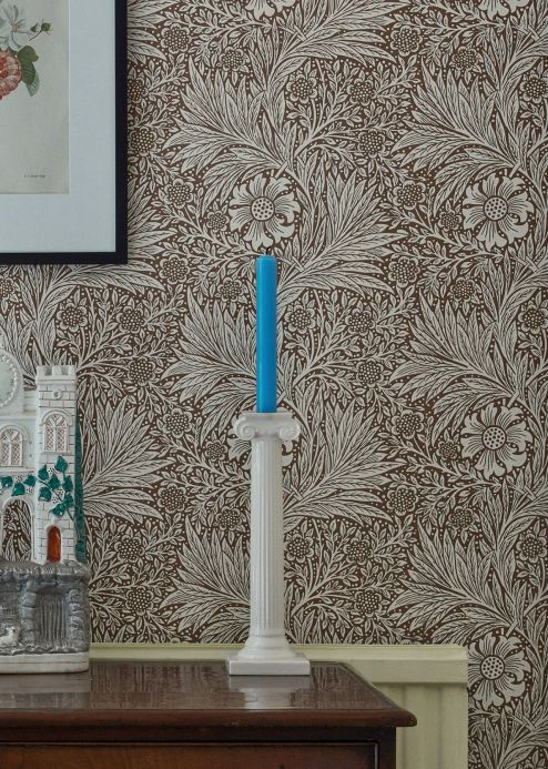 Floral Wallpaper Wallpaper Ramage fawn brown Room View