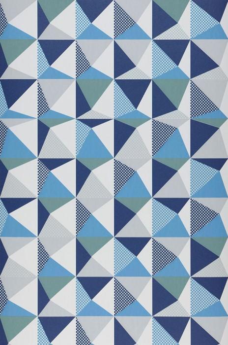 Wallpaper Vector Matt Geometrical elements Grey white shimmer Light blue Light grey Cobalt blue Mint turquoise