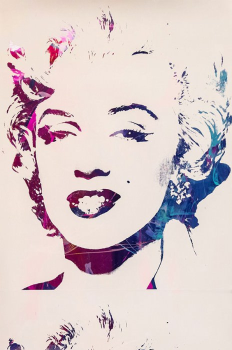 Wallpaper Andy Warhol - Marilyn Shiny pattern Matt base surface Marilyn Monroe White Blue metallic Dark violet Yellow metallic Pink metallic Violet