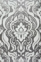 Wallpaper Sennin Metallic effect Baroque damask Grey aluminium Grey white