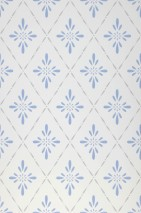Wallpaper Bavero Hand printed look Matt Floral damask Stylised blossoms Cream Brilliant blue Grey