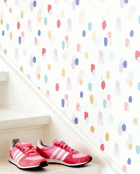Papier peint moderne Papier peint Fabiola multicolore Vue pièce