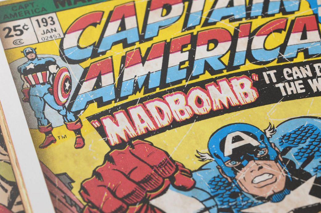 Kindertapeten Tapete 1960s Marvel Heroes Gelb Detailansicht