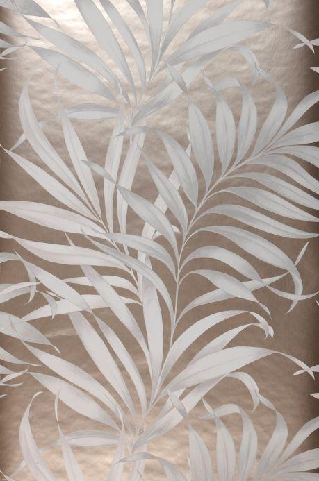 Papel de parede botânico Papel de parede Paradiso branco acinzentado Largura do rolo