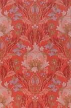 Wallpaper Denisa Hand printed look Matt Floral damask Art nouveau Red Antique pink Brown red Green brown Light pink Pastel violet