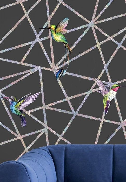 Wallpaper Kendale Matt Graphic elements Hummingbirds Anthracite Blue Cream Green Rose Violet