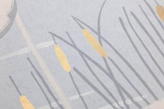 Carta da parati Helma Effetto stampato a mano Opaco Fenicotteri Schilf Blu chiaro Oro brillante Grigio Bianco grigiastro Giallo sabbia