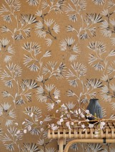 Wallpaper Oana Matt pattern Shimmering base surface Flower tendrils Brown beige shimmer Light grey Black Pale pink