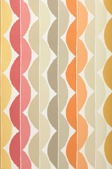 Wallpaper Esus Matt Wavy pattern Cream Beige Beige grey Ochre brown Red violet Sand yellow