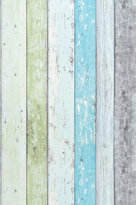 Wallpaper Old Planks Matt Old wooden boards Cream Light yellow green Light grey Pastel turquoise
