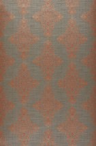 Wallpaper Palamedes Shimmering Baroque damask Beige grey Pearl light grey Grey beige Orient red