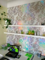 Wallpaper Siduri Hologram effect Shiny pattern Matt base surface Stylised flowers Grey white Brown beige