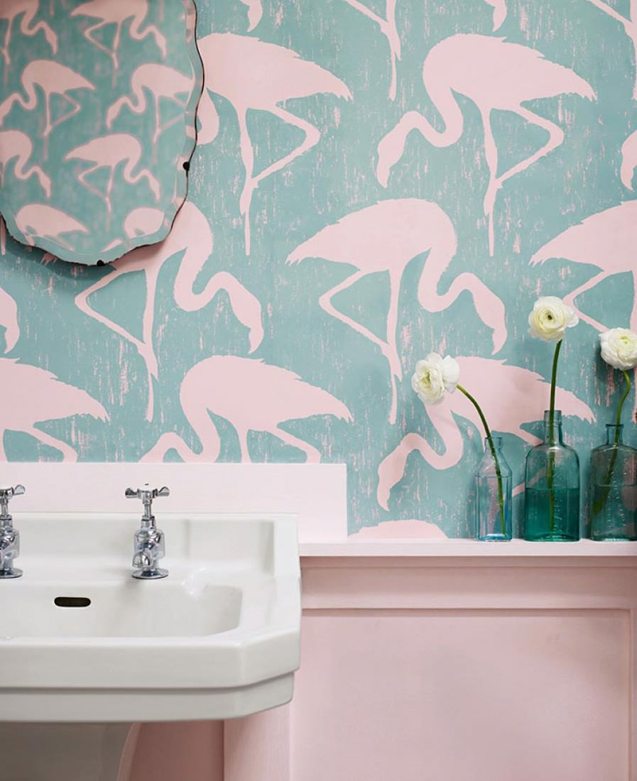 wallpaper lahore pastel turquoise light pink wallpaper from the 70s