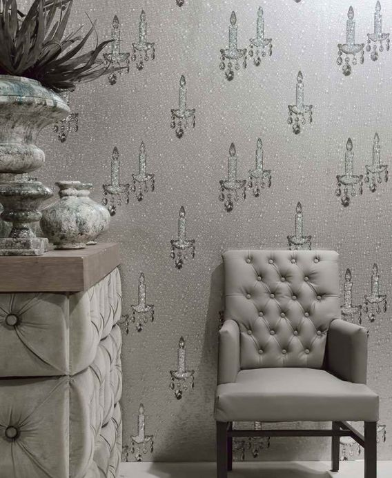 Archiv Wallpaper Ashera silver grey Room View