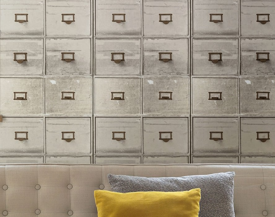 Wallpaper Lombette Matt Old apothecary cabinet Brown grey Grey white Umbra grey