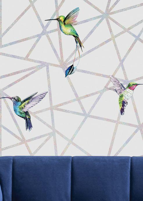 Papel de parede geométrico Papel de parede Kendale branco acinzentado Ver quarto