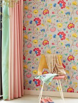 Wallpaper Belisama Matt Leaves Flower tendrils Bugs Platinum grey Beige grey Blue Golden yellow Raspberry red Patina green