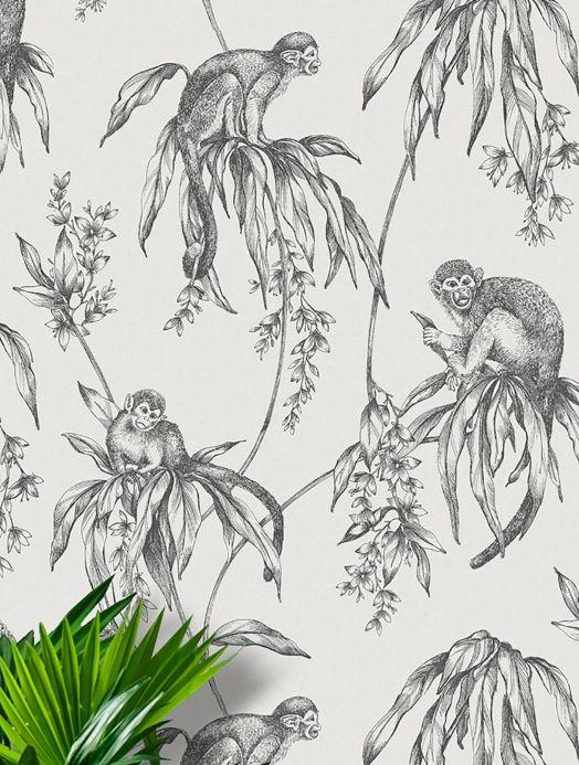 Animal Wallpaper Wallpaper Lunar black grey Room View