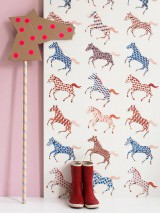 Wallpaper Horses Matt Horses White Blue Brown Cream Light pink Red orange