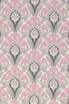 Wallpaper Florence Hand printed look Matt Art nouveau damask Stylised flowers Cream Anthracite grey Grey beige Light pink