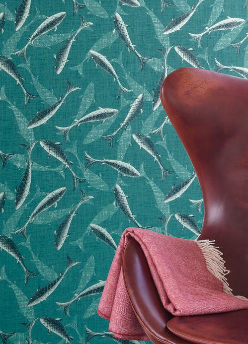 Papier peint avec des animaux Papier peint Immola bleu d'eau Vue pièce
