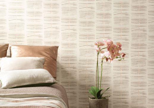 Papel pintado Tallec beige grisáceo Ver habitación
