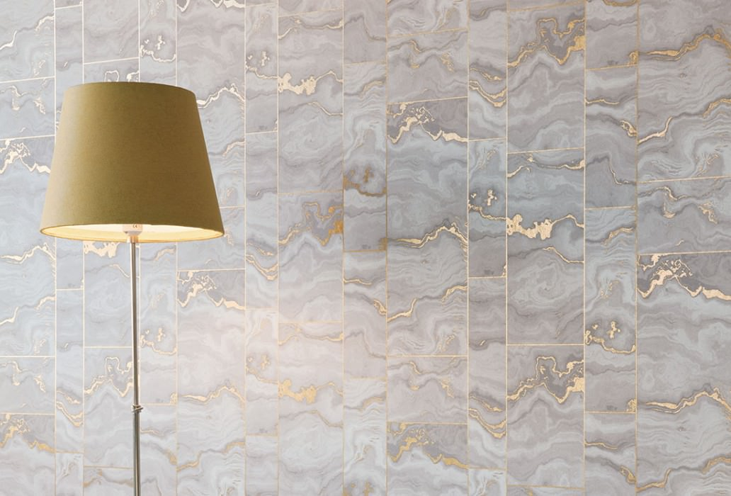 Wallpaper Medea Matt Imitation marmor Beige grey Gold lustre Grey beige Grey white