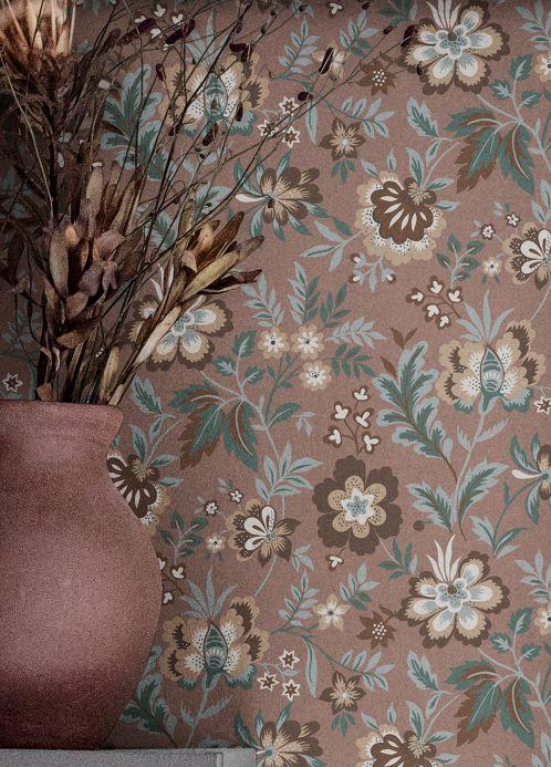 Florale Tapeten Tapete Judica Braun Raumansicht