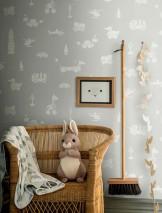 Papel de parede Kivia Mate Brinquedos Cinza claro Branco