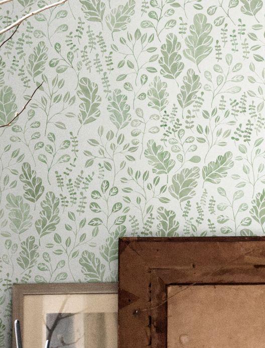 Papel pintado botánico Papel pintado Rosina verde Ver habitación