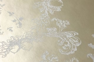 Wallpaper Ismene Matt pattern Shimmering base surface Floral damask Pearl beige Cream
