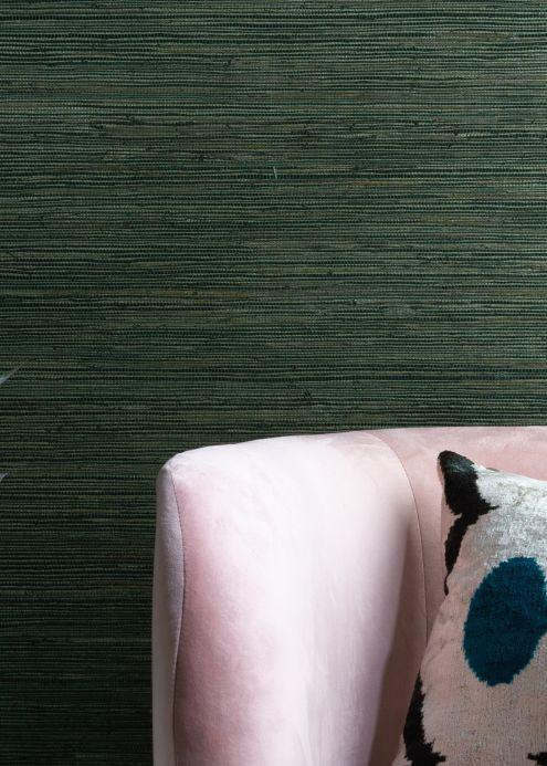 Papel de parede natural Papel de parede Grasscloth on Roll 01 tons de verde Ver ambiente