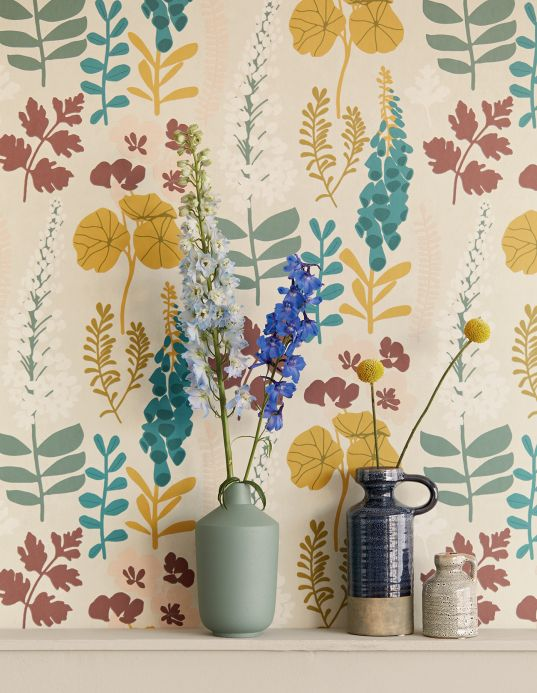 Floral wallpaper Wallpaper Luzie honey yellow Room View