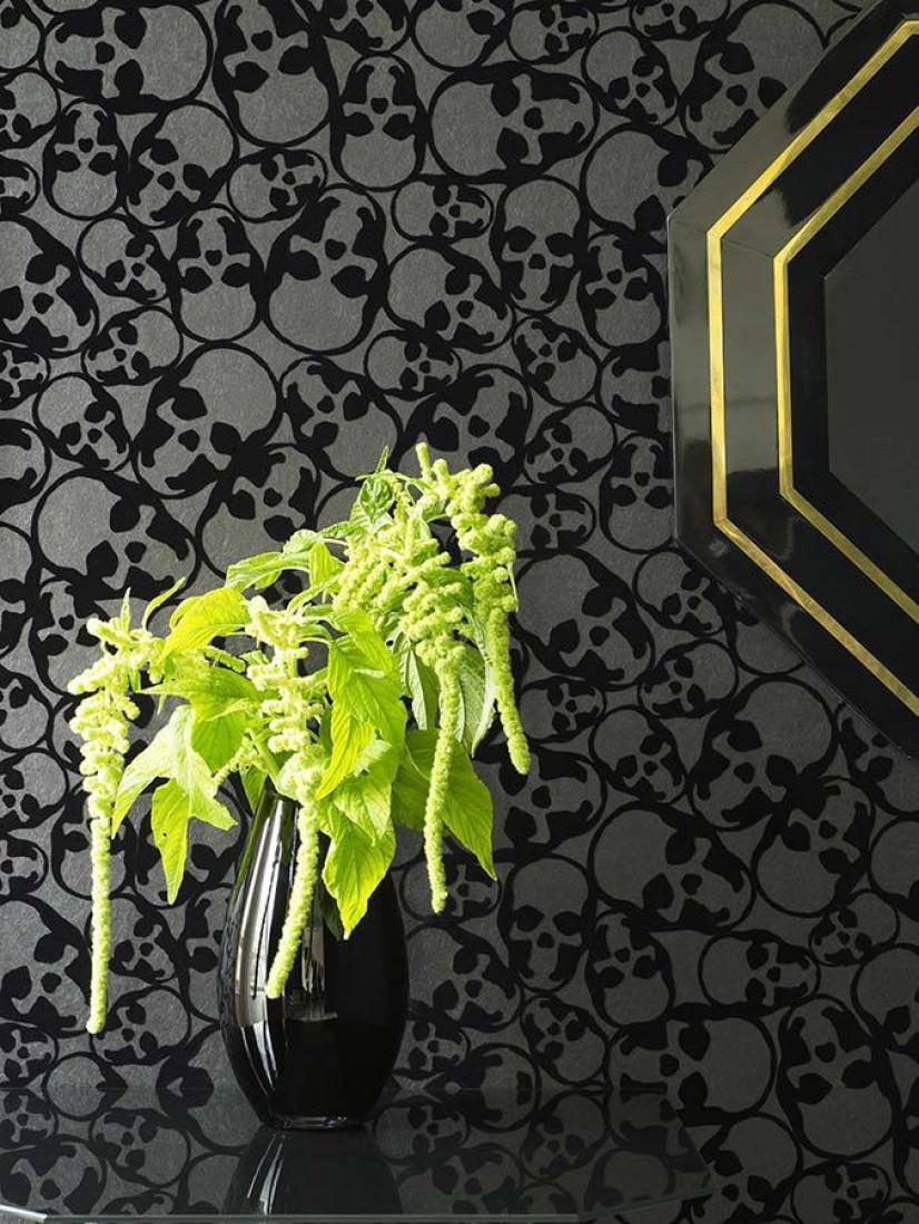 skulls anthracite black glamorous wallpaper