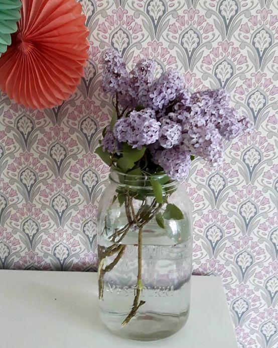 Papel pintado Art Nouveau Papel pintado Florence rosa claro Ver habitación
