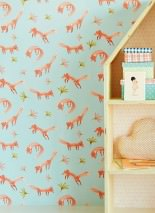 Wallpaper Little Foxes Matt Leaves Foxes Pale turquoise Brown Curry yellow Salmon orange Rose