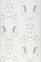 Carta da parati Josipa Opaco Figli dei fiori Campanule Bianco crema Verde pallido Blu color piccione
