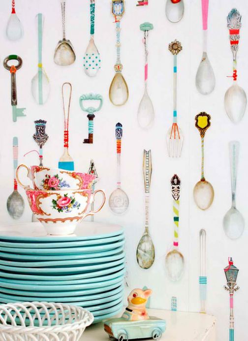 Studio Ditte Wallpaper Wallpaper Teaspoons multi-coloured Room View